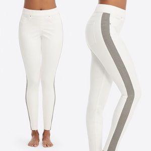 SPANX White Legging Grey Side Stripe Jegging Pant